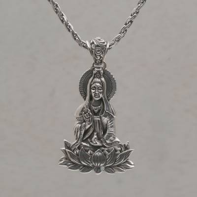 Sterling silver pendant necklace, 'Kwan Im Semedi' - Sterling Silver Pendant Necklace of Goddess Kwan Im