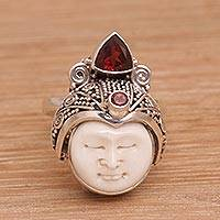 Garnet cocktail ring, 'White Knight' - Carved Bone and Sterling Silver Ring with Garnet Accents