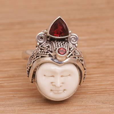 Unicef Market Carved Bone And Sterling Silver Ring With Garnet Accents White Knight