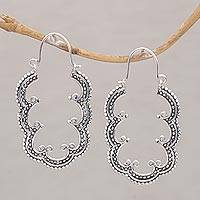Sterling silver hoop earrings, 'Breadfruit Leaves' - Balinese Leaf Motif Sterling Silver Hoop Earrings