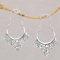 Sterling silver hoop earrings, 'Cascading Swirls' - Handcrafted Sterling Silver Hoop Earrings from Bali