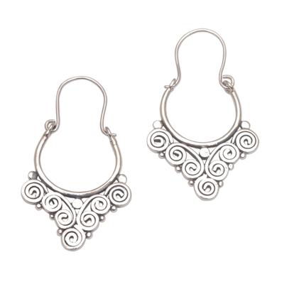 Sterling silver hoop earrings, 'Cascading Swirls' - Handcrafted Sterling Silver Hoop Earrings from Bali