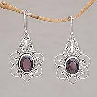 Garnet dangle earrings, 'Flowering Maiden' - Indonesian Garnet and Sterling Silver Dangle Earrings