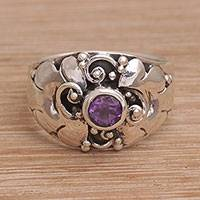 Amethyst cocktail ring, 'Balinese Bloom' - Balinese Sterling Silver and Amethyst Cocktail Ring