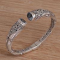 Blue topaz cuff bracelet, 'Bamboo Sparkle' - Bamboo Motif Blue Topaz Cuff Bracelet from Bali