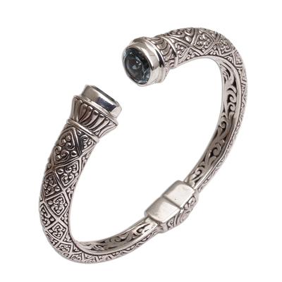 Blue topaz cuff bracelet, 'Diamond Swirls' - Diamond Motif Blue Topaz Cuff Bracelet from Bali