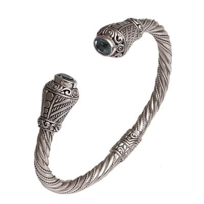Blue topaz cuff bracelet, 'Regal Rope' - Rope Motif Blue Topaz Cuff Bracelet from Bali
