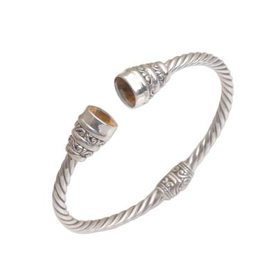 Citrine cuff bracelet, 'Swirling Lights' - Citrine and Sterling Silver Cuff Bracelet from Bali