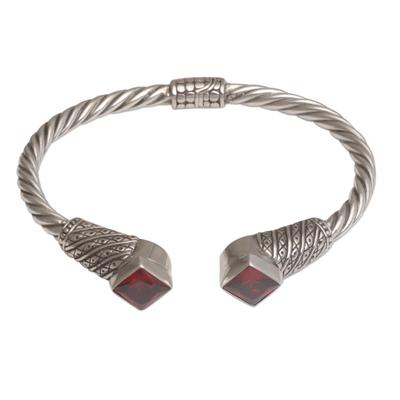 Garnet cuff bracelet, 'Square Swirls' - Square Garnet and Sterling Silver Cuff Bracelet from Bali