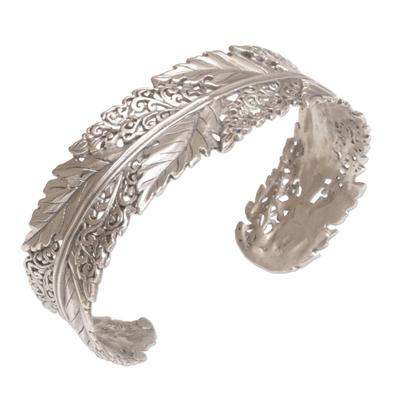 Sterling silver cuff bracelet, 'Flawless Leaves' - Leaf Motif Sterling Silver Cuff Bracelet from Bali