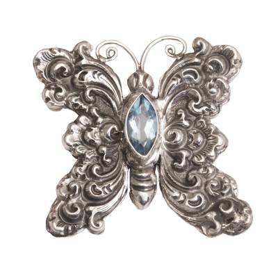 Blue topaz brooch, 'Marquise Butterfly' - Blue Topaz and Sterling Silver Butterfly Brooch from Bali