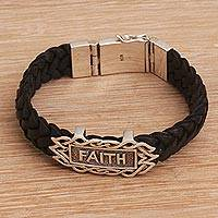 Sterling silver and leather wristband bracelet, 'All I Need is Faith' - Religious Sterling Silver and Leather Bracelet from Bali