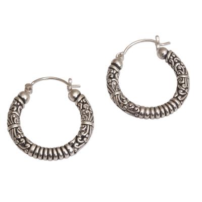 Sterling silver hoop earrings, 'Lightweight Feeling' - Artisan Crafted Sterling Silver Hoop Earrings from Bali