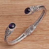 Amethyst cuff bracelet, 'Binding Beauty' - Swirl Motif Amethyst Cuff Bracelet from Bali