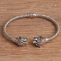 Sterling silver cuff bracelet, 'Law of the Jungle' - Tiger-Themed Sterling Silver Cuff Bracelet from Bali