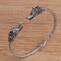 Sterling silver cuff bracelet, 'Dragon Siblings' - Dragon-Themed Sterling Silver Cuff Bracelet from Bali