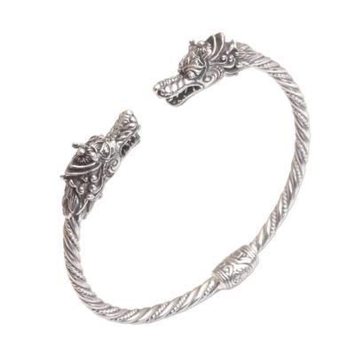 Sterling silver cuff bracelet, 'Dragon Siblings' - Dragon-Themed Sterling Silver Cuff Bracelet from Bali