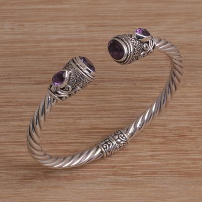 41efe6d08fd Amethyst cuff bracelet, 'Sweet Song' - Faceted Amethyst Cuff Bracelet from  Bali