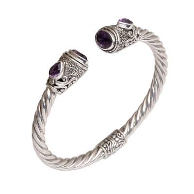 Amethyst cuff bracelet, 'Sweet Song' - Faceted Amethyst Cuff Bracelet from Bali