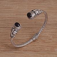 Amethyst cuff bracelet, 'Dragonfly Ovals' - Dragonfly-Themed Amethyst Cuff Bracelet from Bali