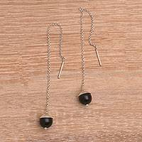 Onyx threader earrings, 'Midnight Fun' - Handmade Onyx 925 Sterling Silver Threader Earrings