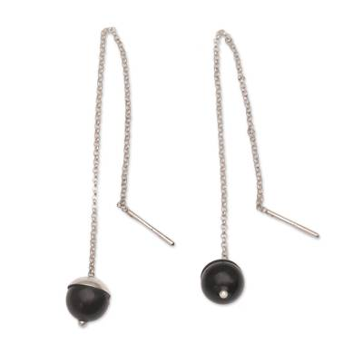 Handmade Onyx 925 Sterling Silver Threader Earrings