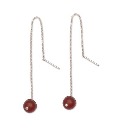 Handmade Carnelian Threader Earrings 925 Sterling Silver