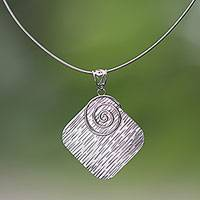 Sterling silver pendant necklace, 'Summer Spiral' - Sterling Silver Contemporary Industrial Pendant Necklace
