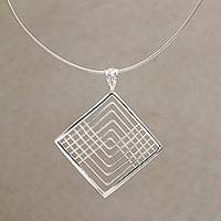 Sterling silver pendant necklace, 'Elegant Angles'