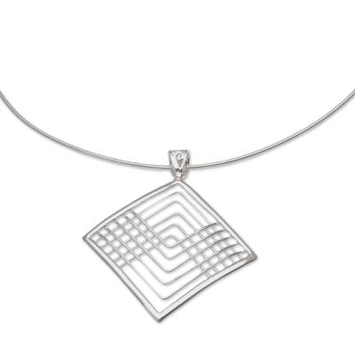 Sterling silver pendant necklace, 'Elegant Angles' - Sterling Silver Hand Made Nested Squares Pendant Necklace