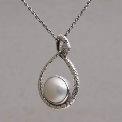Cultured pearl pendant necklace, 'Mother Snake' - Cultured Pearl and Sterling Silver Snake Pendant Necklace
