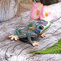 Polymer clay sculpture, 'Vibrant Tree Frog' (4 inch) - Colorful Polymer Clay Frog Sculpture (4 Inch) from Bali