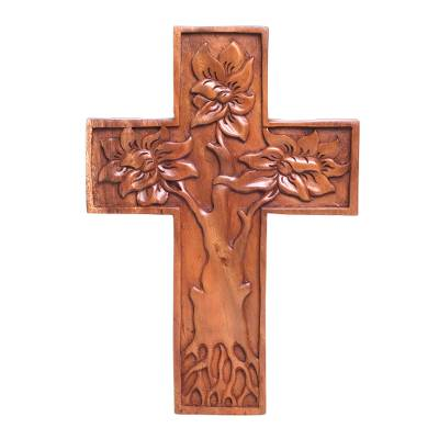 Wood wall cross, 'Peaceful Mangrove' - Hand-Carved Tree-Themed Suar Wood Wall Cross from Bali