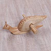 Wood percussion instrument, 'Shell Melody' - Hand Carved Balinese Snail Suar Wood Percussion Instrument