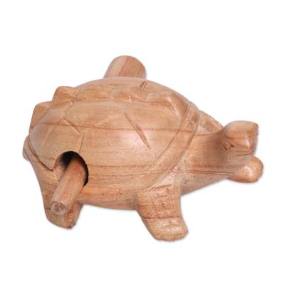Wood mini percussion instrument, 'Tortoise Melody' - Hand Carved Wood Tortoise Percussion Instrument from Bali