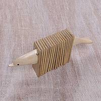 Wood clacker instrument, 'Dolphin Do-Re-Mi' - Handmade Wood Dolphin Shaped Clacker Musical Instrument