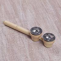 Wood percussion instrument, 'Double Rhythm' - Handmade Handheld Percussion Tambourine