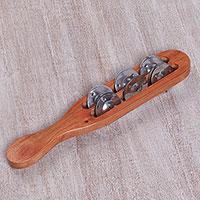 Teakwood tambourine, 'Harmonious Rod' - Artisan Hand Crafted Teakwood Stainless Steel Tambourine