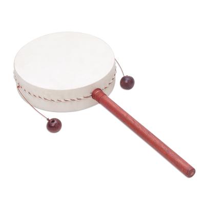 Wood drum, 'Dancing Vibes' - Hand Made Indonesian Wood Handled Drum