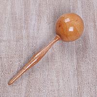 Wooden maraca, 'Sunny Tune' - Handmade Handheld Percussion Instrument Shaker
