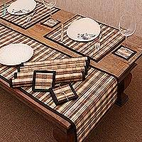 Pandanus and cotton table linen set, 'Klotok Dimensions' (set of 6) - Hand Woven Javanese Pandanus and Cotton Table Set for 6