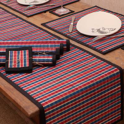 Bamboo and cotton table linen set 'Striped Dimensions' (set of 6) - Red and Blue Striped Bamboo and Cotton Table Set for 6