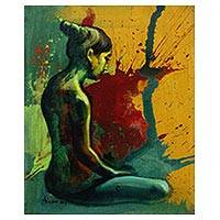 'Still Waiting' - Original Signed Javanese Nude Painting in Bright Colors