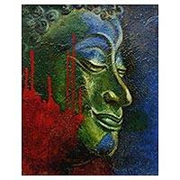'Peaceful Smile' - Original Signed Expressionistic Buddha Painting from Java