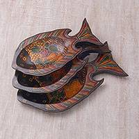Wood decorative platters, 'Batik Fish' (set of 3) - Javanese Pule Wood Batik Decorative Fish Platters (Set of 3)