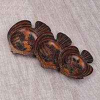 Wood batik decorative platters, 'Batik Angel Fish' (set of 3) - Javanese Pule Wood Batik Decorative Fish Platters (Set of 3)