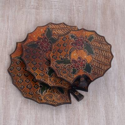Wood batik decorative platters, 'Batik Lily' (set of 3) - Wood Batik Decorative Lily Platters in Orange (Set of 3)