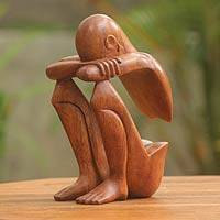 Wood sculpture, 'Abstract Rest' - Indonesian Suar Wood Sculpture