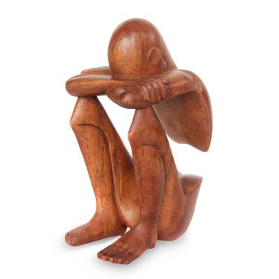 Wood sculpture, 'Abstract Rest' - Hand Carved Suar Wood Sculpture