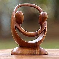 Wood sculpture, 'Cycle of Love' - Suar Wood Romantic Sculpture